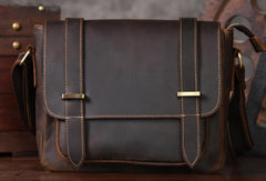 Handmade leather men Briefcase messenger vintage shoulder laptop bag vintage bag