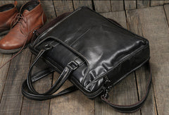 Cool Black Leather mens Briefcases Shoulder Laptop Briefcase Shoulder bag