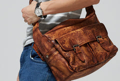 Cool leather mens messenger bags shoulder laptop bag for men