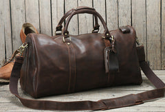 Cool Vintage Leather Mens Duffle Bag Weekender Bag Overnight Bag Travel Bag