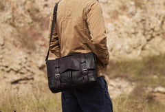 Handmade leather men Vintage messenger bag vintage Cool Shoulder bag for Men