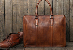 Handmade leather men vintage Briefcase messenger large vintage shoulder laptop bag vintage bag