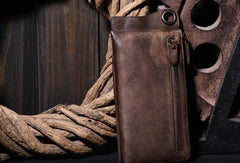 Leather biker trucker wallet leather chain men Brown Coffee long wallet