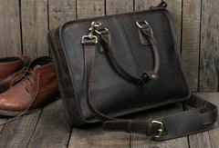 Vintage leather mens Briefcase laptop Briefcase Shoulder bag for Men