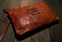 Genuine Leather large clutch leather men phone pad zip clutch vintage wallet for men