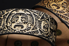 Handmade leather Mayan solar calendar carved leather bracelet accessories men