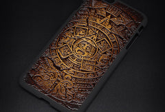 Handmade leather Mayan solar calendar carved leather plastic phone case iphone custom phone case