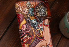 Handmade Long leather biker wallet trucker leather chain God Mahakala Carved Tooled wallet
