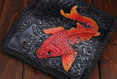 Handmade leather Long Black biker trucker wallet leather chain men red carp Carved Tooled wallet
