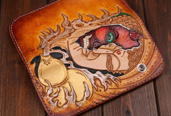 Handmade leather biker trucker wallet leather chain devil or Buddha Carved Tooled wallet