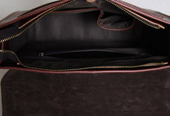 Handmade leather men Briefcase messenger red brown shoulder ipad bag vintage bag