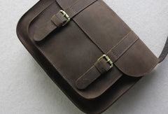 Handmade leather men Briefcase messenger coffee shoulder bag vintage bag for him