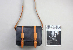 Handmade leather men Briefcase messenger black shoulder bag vintage bag for him