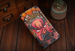 Handmade leather Beijing opera makeup general wallet leather zip men Long Clutch Tooled wallet