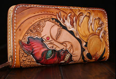 Handmade leather Buddha devil  wallet leather zip men clutch Carved Tooled wallet