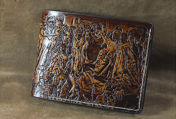 Handmade men leather wallet the walking dead short coffee carved custom for men
