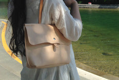 Handmade Leather handbag shoulder bag beige for women leather shoulder bag