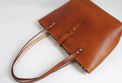 Handmade Leather handbag shoulder tote bag brown for women leather shoulder bag