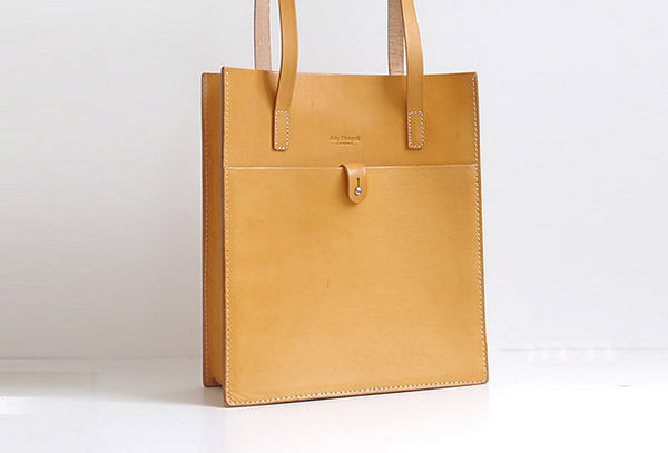Handmade Leather handbag shoulder tote bag yellow red brown for women leather shopper bag