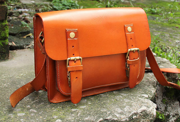 Handmade vintage satchel leather messenger bag orange black beige shoulder bag for women