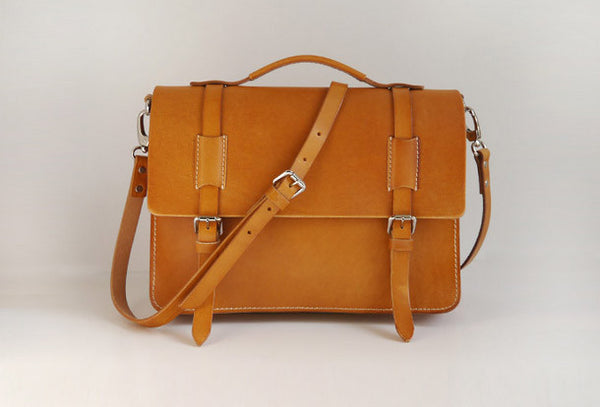 Handmade Leather satchel bag shoulder bag yellow Brown for women leather shoulder bag