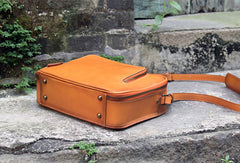 Handmade vintage satchel leather normal messenger bag orange shoulder bag handbag for women