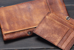 Handmade men long leather wallet clutch men bifold vintage gray brown long wallet for him