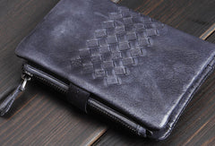 Handmade men billfold leather wallet men vintage gray brown wallet for him