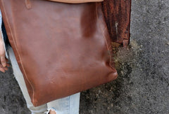 Handmade modern vintage leather big black coffee tote bag shoulder bag for women
