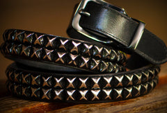 Handmade personalized Custom punk rivet Leather men White black belt