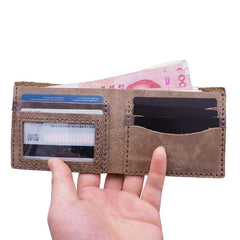 Handmade Blue Leather Mens Bifold Billfold Wallets Slim Blue Small Wallet for Men