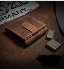Handmade Brown Leather Men Trifold Billfold Wallet With Coin Pocket Small Wallet for Men