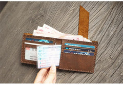 Handmade Brown Leather Mens Bifold Billfold Wallets Slim Brown Small Wallet for Men