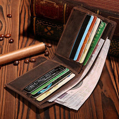 Handmade Brown Leather Mens Bifold Billfold Wallets With Coin Pocket Small Wallet for Men