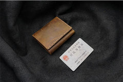 Handmade Brown Leather Mens Trifold Billfold Wallet With Front Pocket Wallet for Men