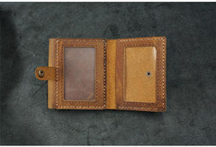 Handmade Leather Mens Trifold Billfold Wallets With License Slot Brown Small Wallet for Men