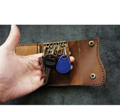 Handmade Brown Leather Mens Billfold Wallet Key Wallets Slim Trifold Key Holder Wallet for Men
