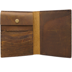 Handmade Slim Leather Mens Bifold Travel Wallets Brown Passport Wallet Long Wallet for Men