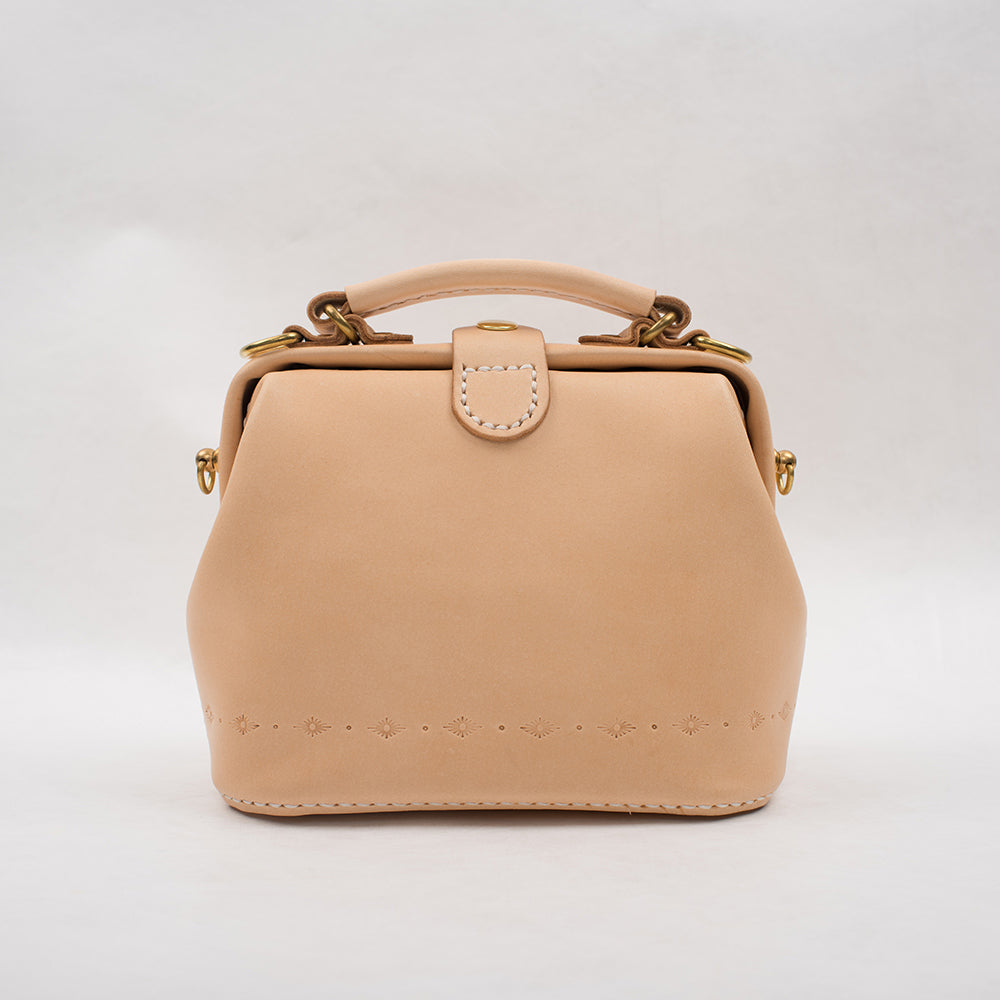 Handmade Womens Beige Leather Mini doctor Handbag shoulder doctor bags for women