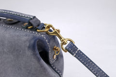 Handmade Womens Blue Leather Mini doctor Handbag shoulder doctor bags for women