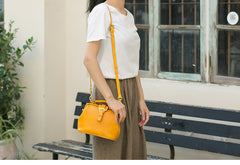 Handmade Womens Yellow Leather Small doctor Purse Yellow shoulder doctor bags for women