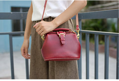 Handmade Womens Red Leather Small doctor Purse Red shoulder doctor bags for women