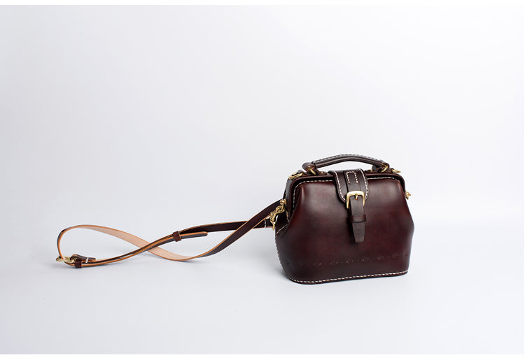Handmade Womens Coffee Leather Small doctor Purse Coffee shoulder doctor bags for women