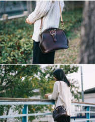 Handmade Womens Coffee Leather doctor Handbag shoulder doctor bags Purse for women