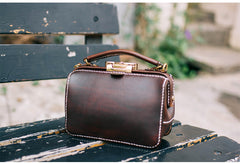 Handmade Womens Leather Doctor Handbag Purse Small Side Bag Doctor Bags for Women