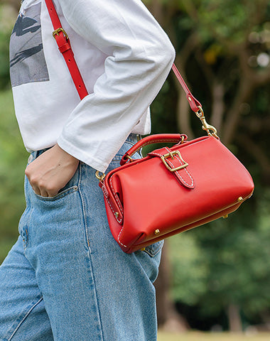 Handmade Womens Red Leather Doctor Handbag Side Purse Small Doctor Purse for Women