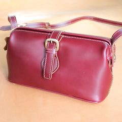 Handmade Womens Small Red Leather Doctor Shoulder Purses Claret Doctor Crossbody Purses for Women
