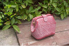 Handmade Womens Rose Red Leather Small doctor Purse shoulder doctor bags for women