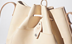 Handmade Beige Women Leather bucket crossbody bag Barrel shoulder bag for women