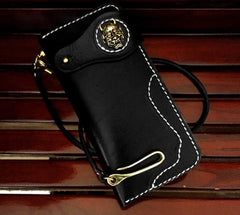 Handmade Black Leather Men's Long Biker Wallet Chain Wallet Long Biker Chain Wallet For Men